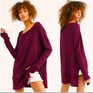 Free People Maroon North Shore Thermal Knit Tunic